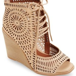 Jeffrey Campbell nude laser cut out lace up wedges